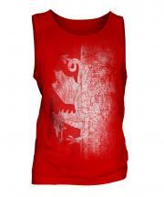 Welsh Flag Faded Print Mens Vest