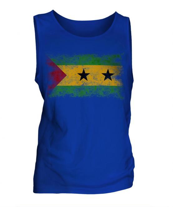 Sao Tome E Principe Distressed Flag Mens Vest