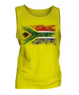 South Africa Distressed Flag Mens Vest