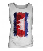 Cambodia Grunge Flag Mens Vest