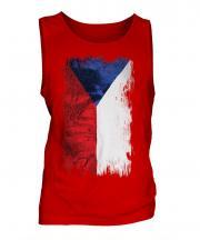 Czech Republic Grunge Flag Mens Vest