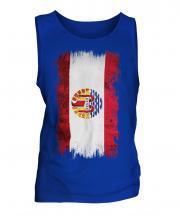 French Polynesia Grunge Flag Mens Vest
