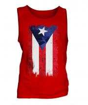 Puerto Rico Grunge Flag Mens Vest