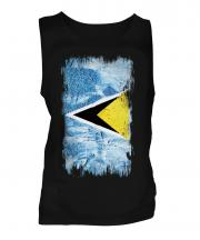 Saint Lucia Grunge Flag Mens Vest