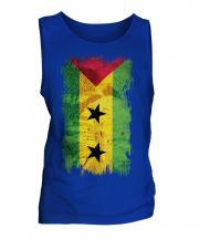 Sao Tome E Principe Grunge Flag Mens Vest