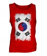South Korea Grunge Flag Mens Vest