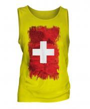 Switzerland Grunge Flag Mens Vest