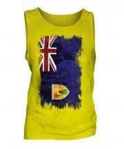 Turks And Caicos Islands Grunge Flag Mens Vest