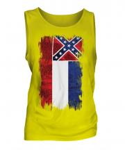 Mississippi State Grunge Flag Mens Vest