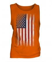 Stars And Stripes Faded Flag Mens Vest