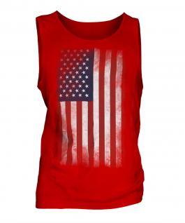 Stars And Stripes Faded Flag Mens Vest