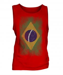 Brazil Faded Flag Mens Vest