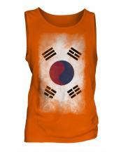 South Korea Faded Flag Mens Vest