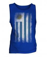 Uruguay Faded Flag Mens Vest