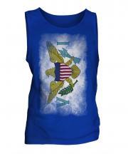 Us Virgin Islands Faded Flag Mens Vest
