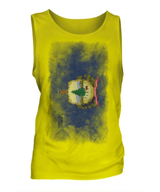 Vermont State Faded Flag Mens Vest