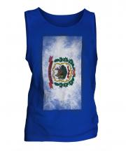 West Virginia State Faded Flag Mens Vest