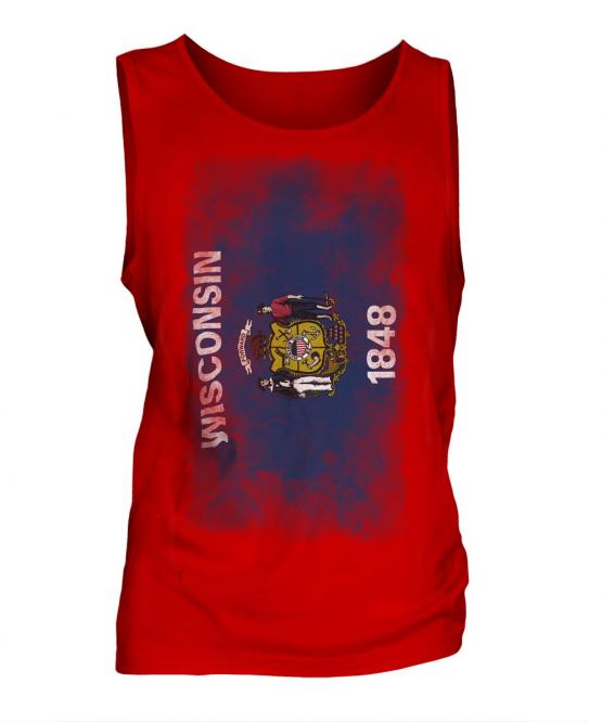 Wisconsin State Faded Flag Mens Vest
