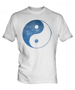 Yin Yang Distressed Print Mens T-Shirt