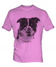 Border Collie Sketch Mens T-Shirt