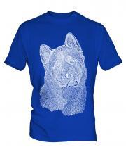 American Akita Sketch Mens T-Shirt