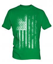Stars And Stripes Faded Print Mens T-Shirt