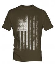 Stars And Stripes Faded Print Mens T-Shirt