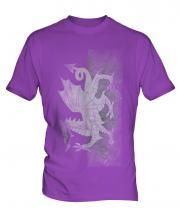 Welsh Flag Faded Print Mens T-Shirt