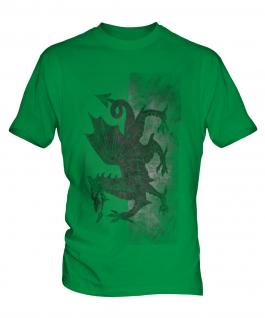 Welsh Flag Faded Print Mens T-Shirt