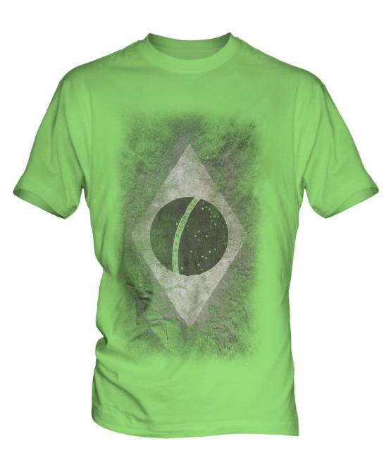 Brazil Flag Faded Print Mens T-Shirt