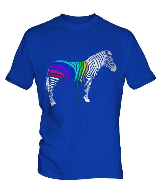 Rainbow Painted Zebra Mens T-Shirt