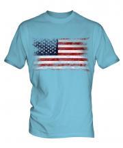 Stars And Stripes Distressed Flag Mens T-Shirt