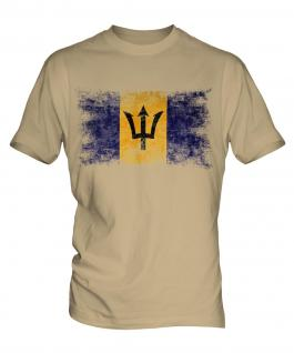 Barbados Distressed Flag Mens T-Shirt
