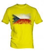 Czech Republic Distressed Flag Mens T-Shirt