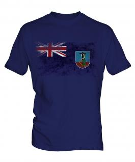 Montserrat Distressed Flag Mens T-Shirt