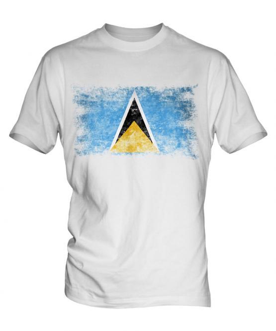 Saint Lucia Distressed Flag Mens T-Shirt