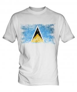 Saint Lucia Distressed Flag Mens T-Shirt