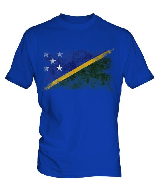 Solomon Islands Distressed Flag Mens T-Shirt