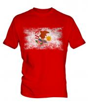 Illinois State Distressed Flag Mens T-Shirt