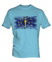 Indiana State Distressed Flag Mens T-Shirt