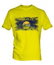 Montana State Distressed Flag Mens T-Shirt