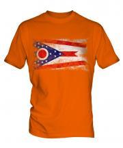 Ohio State Distressed Flag Mens T-Shirt