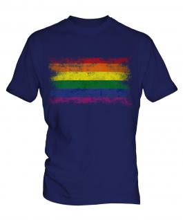 Gay Pride Distressed Flag Mens T-Shirt