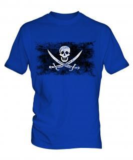 Pirate Distressed Flag Mens T-Shirt