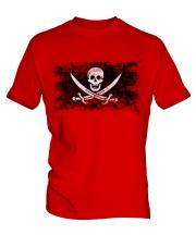 Pirate Distressed Flag Mens T-Shirt