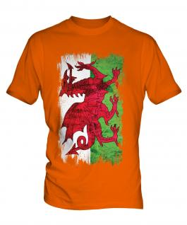 Wales Grunge Flag Mens T-Shirt