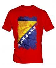 Bosnia And Herzegovina Grunge Flag Mens T-Shirt