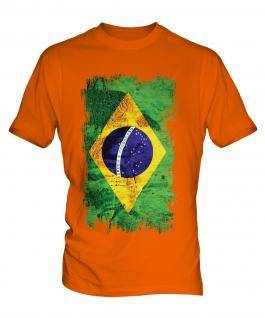 Brazil Grunge Flag Mens T-Shirt