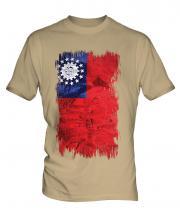 Burma Grunge Flag Mens T-Shirt