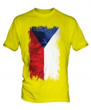 Czech Republic Grunge Flag Mens T-Shirt